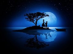 Romance in blue moon night