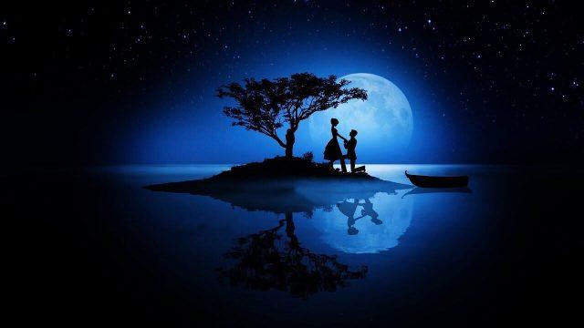 Romance in blue moon night